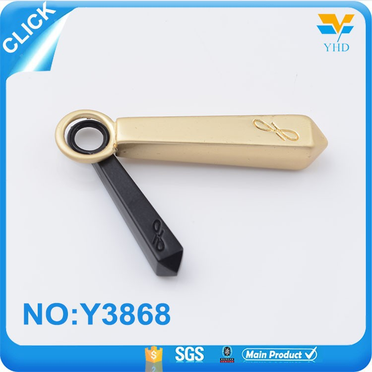 Manufacture new design bright gold customized zipper puller with logo