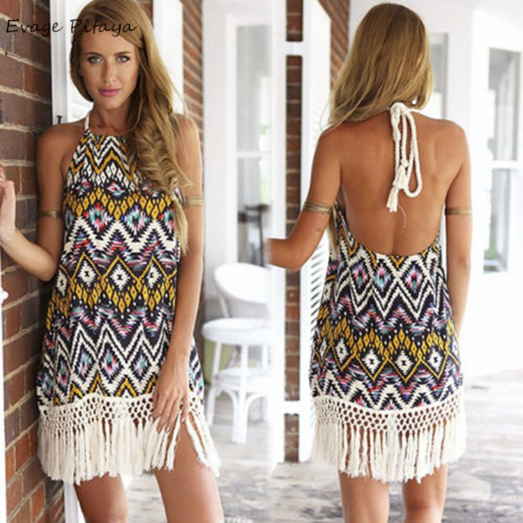 Bohemian Halter Sleeveless Crochet Tassel Loose Backless dresses