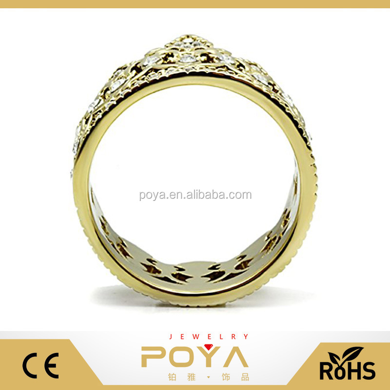 POYA Jewelry Stainless Steel Gold Plated Filigree Queen King Royalty Crown Ring
