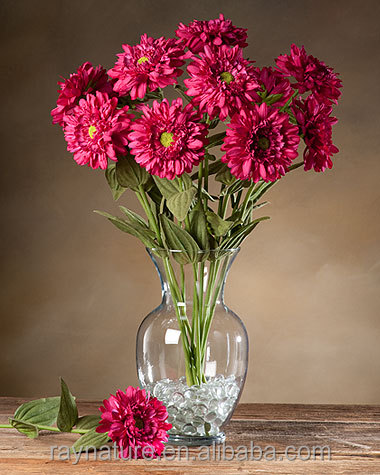 Zinnia Silk Flower Stem tall plastic flower vases