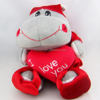 "2016 wholesale stuffed hippo toys plush Valentine day gifts with ""I love you"""