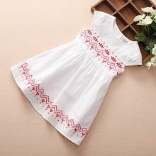 2016 A-line girls plain dress embroidery white western dress pattern