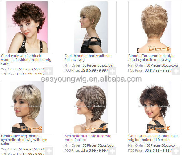 wholesale fashion short new synthetic hair styles full lace wigs for White women