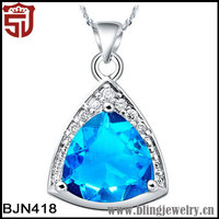 Fashion Gold Plating Copper Purple &Blue Charming Crystal Triangle Pendant Necklace for Women