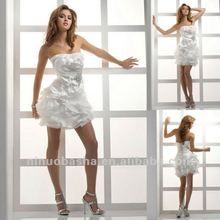 Sexy short Strapless Beaded Brooch Fold Corset Wedding Dress Short Party Gown
