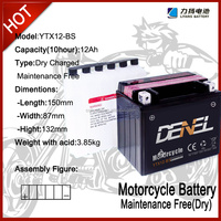 YTX12-BS 12V12AH motorcycle battery 6-FM-12 maintenance-free electric bike battery 12v 12ah/10hr mf motorcycle battery