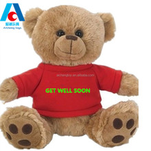 Excellent quality 25cm teddy bear <strong>toy</strong> with red clothes custom logo CE standard