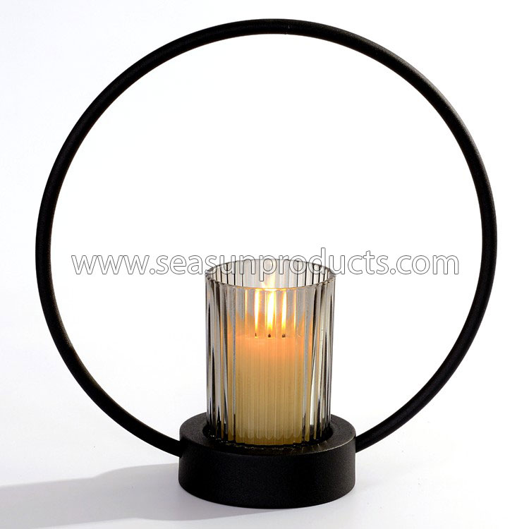 China black metal candle holder candle centerpiece with glass cup