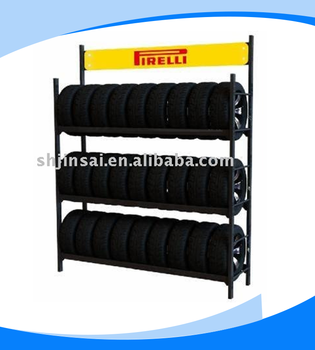China Gold Supplier Big Capacity Three layers Pirelli Metal Tire rack shopping mall
