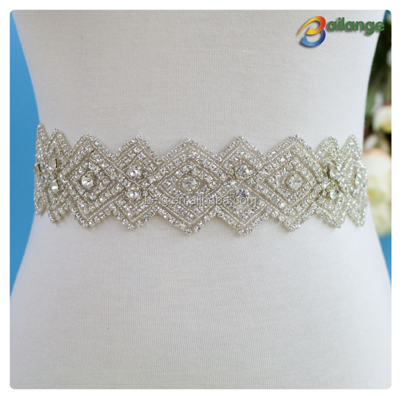 wholesale beaded embroidery pearl sash bridal crystal jewelry appliques