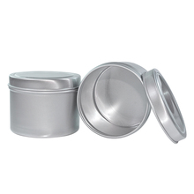 Empty Silver Round Cosmetic Lip Balm 100ml Aluminum Can with Up and Bottom Cover