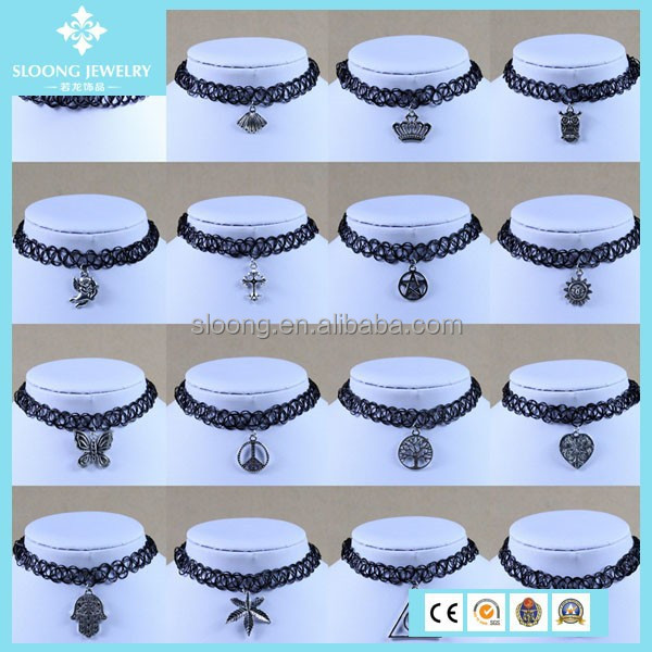 HOT Elastic Tatto Necklace with Pendants Trendy Necklace 2014