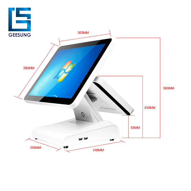 AIO-1511 pos system dual screen, 15 inch windows tablet pc