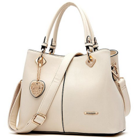 Lady genuine leather shoulder bag, heart metal handbag
