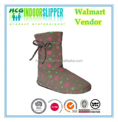 colorful dots printing with bow indoor winter boots for women