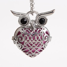 Wholesale Cute Owl Large Hollow Cage Mexican Chime Magic Box Bola Sound Ball Pendant Long Chain Pregnancy Necklaces HCPN46