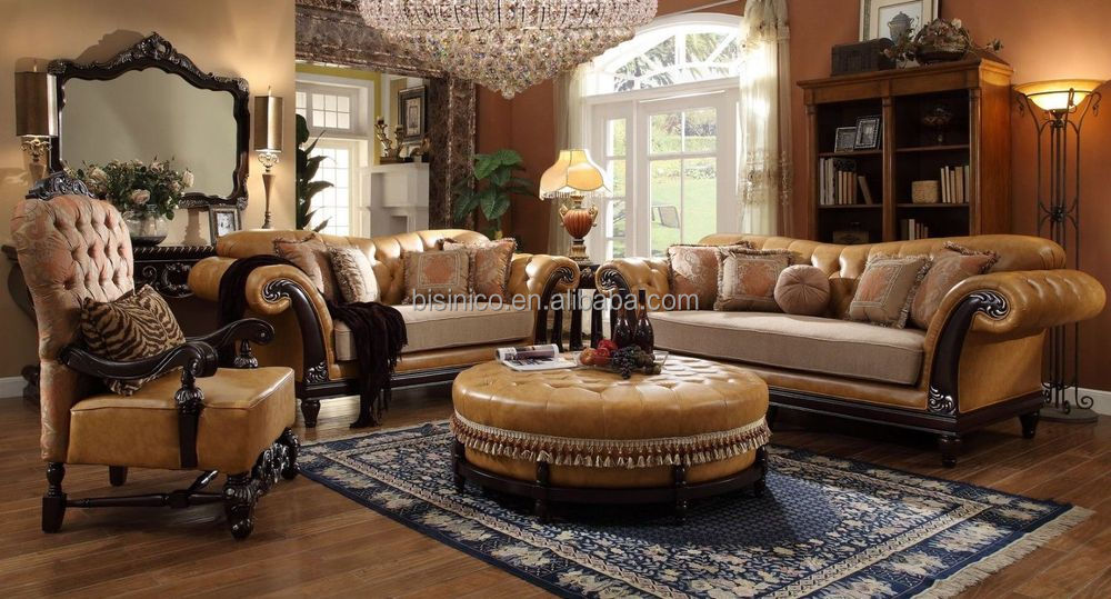 Luxury Victorian Wooden Genuine Leather Living Room Couch