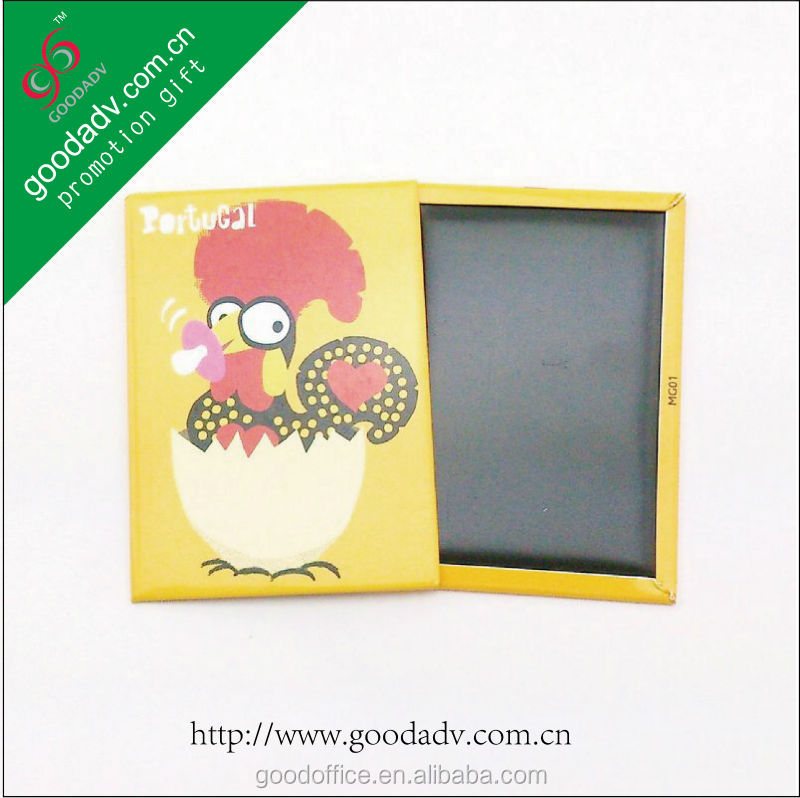 Guangzhou retail rectangular double sided rooster design 3d fridge magnet