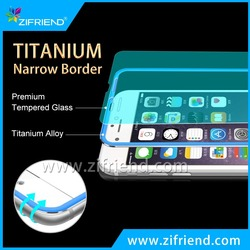 Full Cover Screen Protector ! 3D 9H Hardness Anti-oil Titianium Border Tempered Glass Screen Protector for iPhone 6s plus