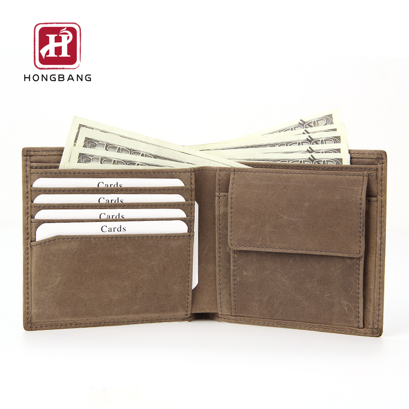 Slim travel wallet genuine leather men's wallet with coin pocket