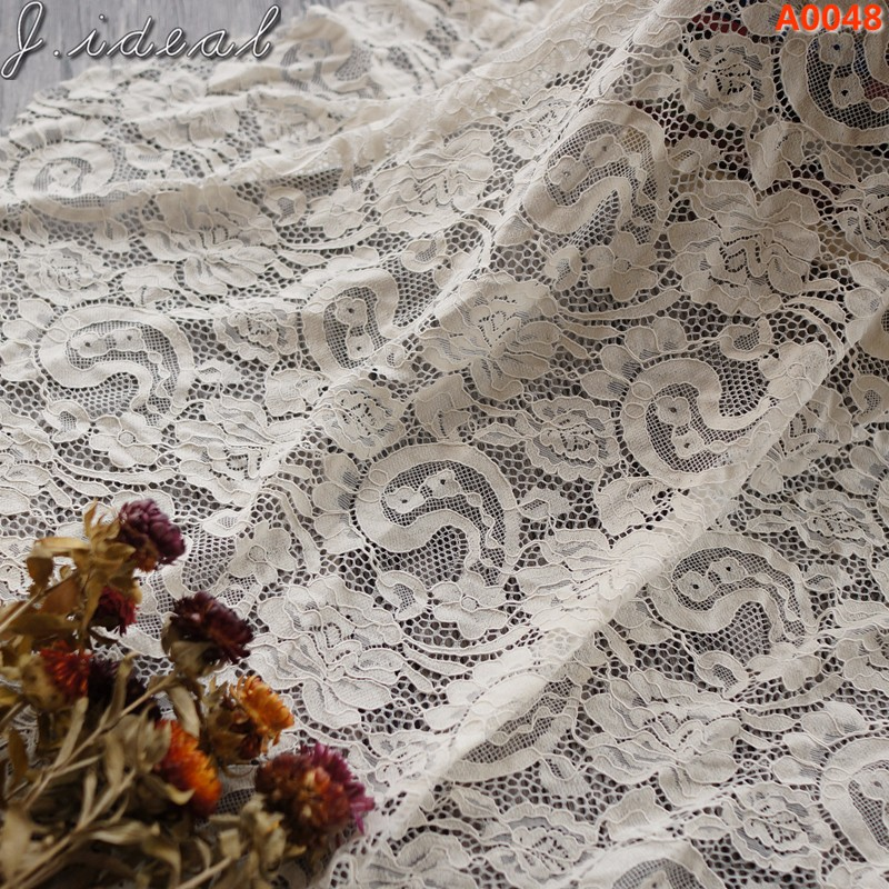 J.ideal mesh tulle Floral Guipure lace fabric nylon cotton lace fabric 3D water soluble A0048