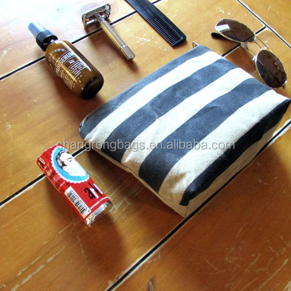 Vintage Utility Waxed Canvas Dopp Kit Toiletry Bag for Men & Women Inspired Stripes