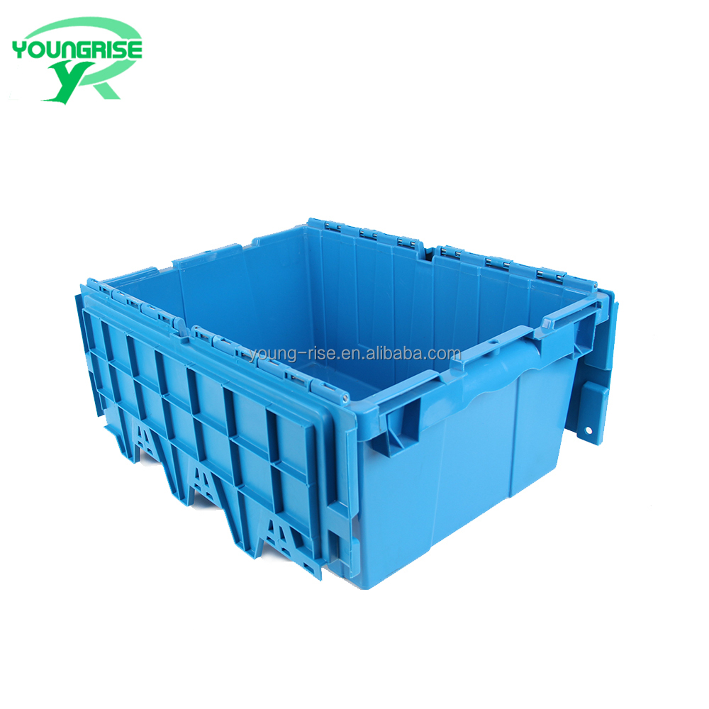 40L Hot Sale Heavy Duty Stackable Logistic Containers Plastic Nesting Storage Moving Crate with Lid