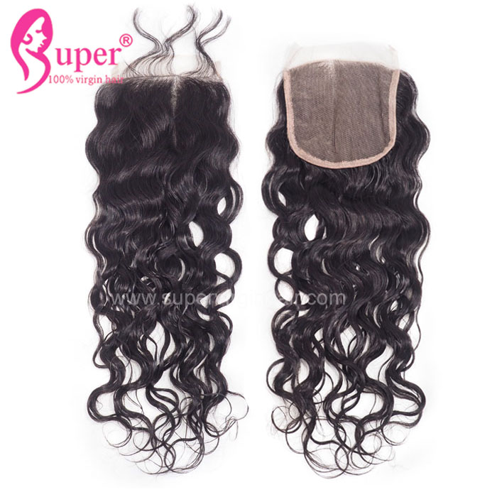 Brazilian Human Water Wave No Tangle No Shed With Hair Weave Extensions Natural 4x4 Lace Closure