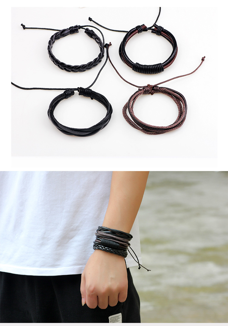 Handmade Multilayer Wrap Rope Bracelets & Bangles mens leather bracelets 2019 Fashion Jewelry Charm Vintage Boyfriend Gift