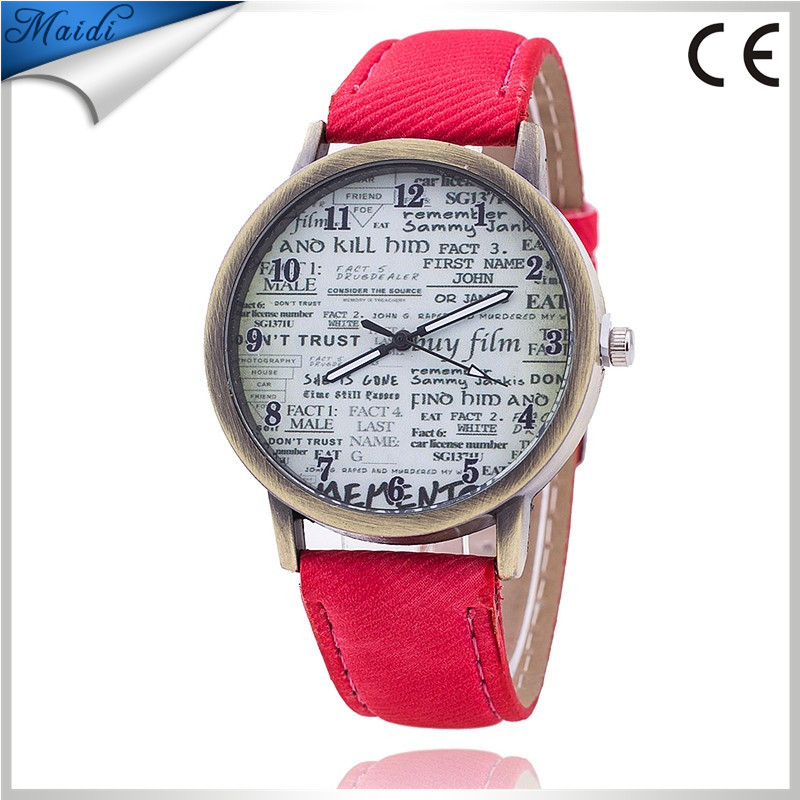 2015 Unisex Casual Quartz Analog Sports Denim Fabric News Paper Wrist Watch Women men Watches MW-15