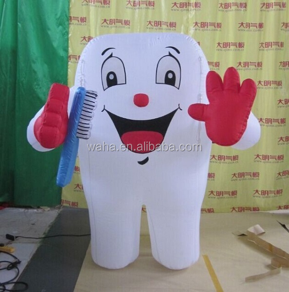Attractive toothpaste advertising/promotional/exhibition/trade inflatable teeth replica/figure/character/model for event W940