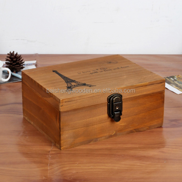 Handmade wood products packaging box vintage wooden foldable storage box