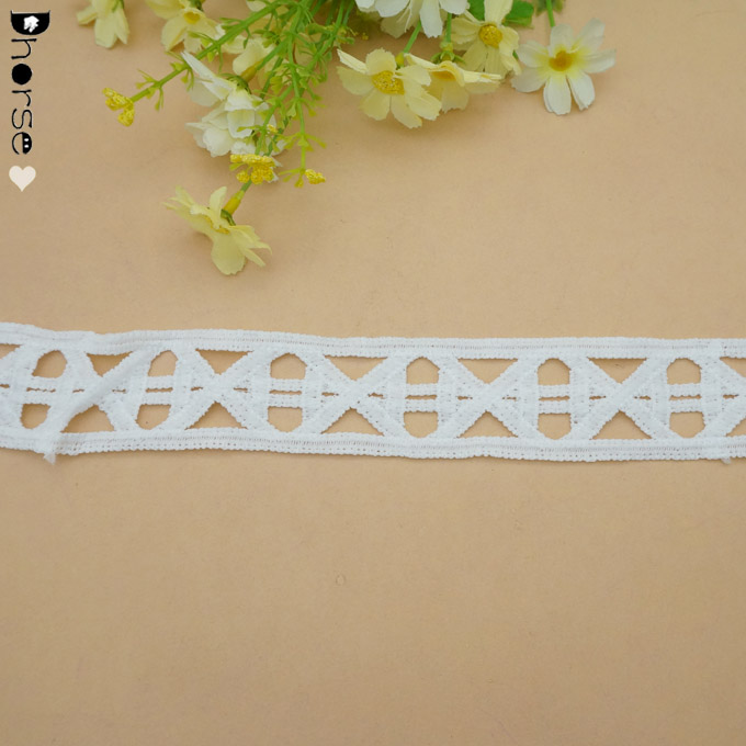DH-WT1959 white big ladder embroidery cotton lace trim