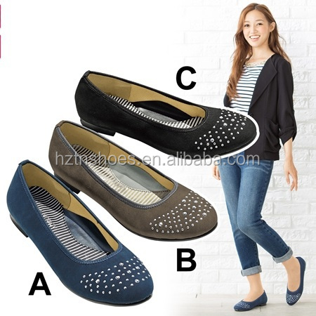 Women Embellished Pumps Round Toe Flat Woman Ballet Breathable Soft Foam Padded Shoes for Ladies
