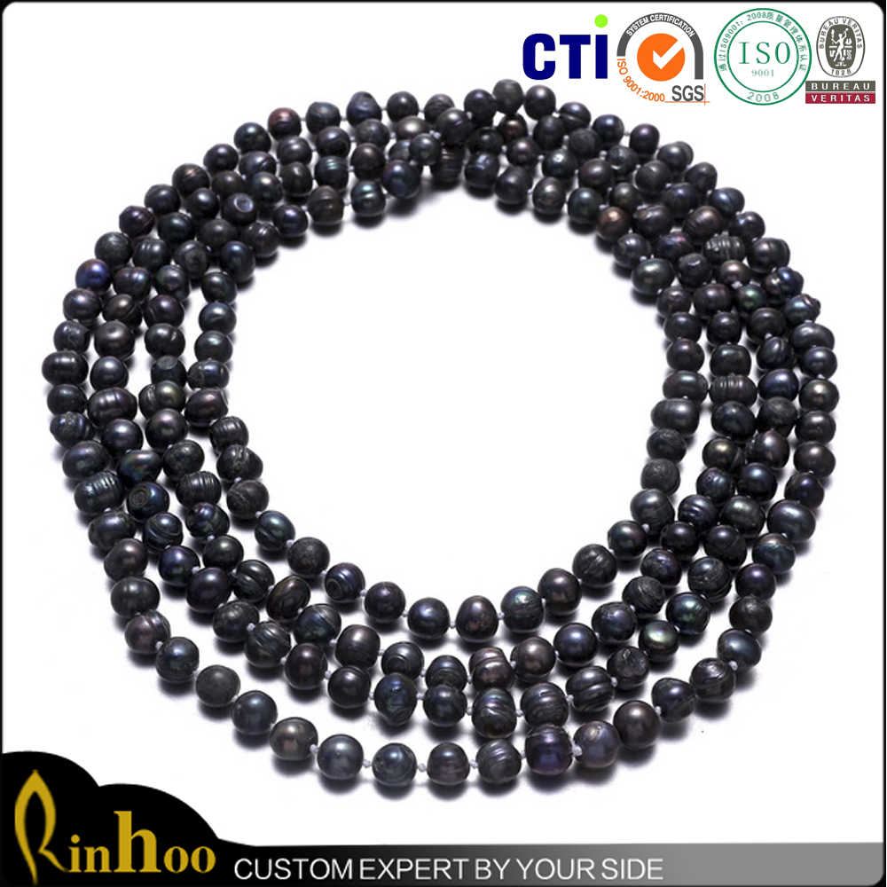 Unique Design Style Indian Pearl Necklace High Quality Black Artifical Pearl Necklace For Ornament Traditional Pearl Necklace