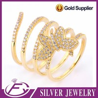 Bling bling stone beautiful style pure gold butterfly ring
