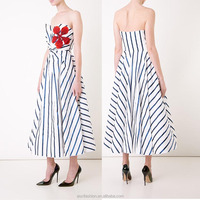 OEM service high-end sexy off-shoulder stripe elegant new long party evening dresses