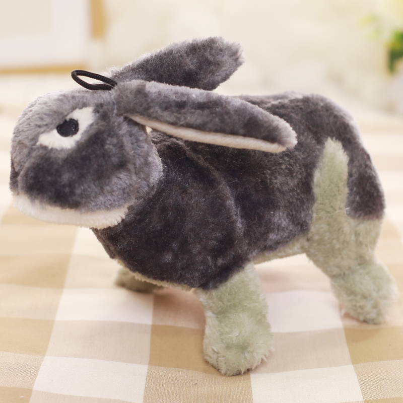 Customized Animal Cat Dog Plush Stuffed Squeaky Pet Toys Gray Rabit Shape
