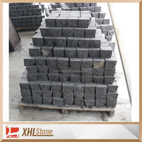 Chinese Zhangpu black basalt pavers 100*100 cobble stone pavement for garden