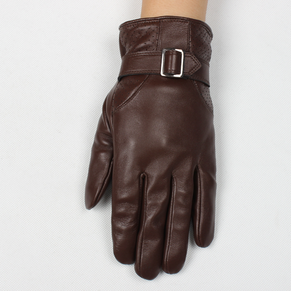 Strap decoration brown customl touch screen mens leather gloves