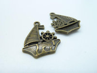 Hot Diy Jewelry Findings Wholesale 21x27mm Antique Bronze Sailboat Boat Charm Pendant c2292 Jewelry Making Handmade