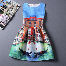 MDA0801 2015 New Style Fahion Printing Casual Textured Sleeveless Skater Mini Dress for Women Ball Gown