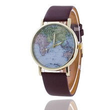 New Women Men Vintage Earth World Map Watch Alloy Analog Quartz Leather Wrist Watches