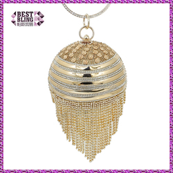 luxury women round shape rhinestone round ball pearl clutch bag ( C324)