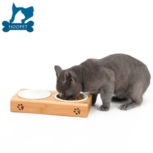 Dog Cat Feeder Table Set Pet Bamboo Solid Wood Food and Water Bowls Double Two Stainless Steel Bowls