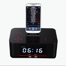 Portable Desktop for samsung docking station with alarm clock Dual USB charging Port FM Radio A8 Android Bluetooth speaker