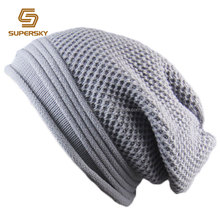 A829 Men Cotton Knitted Beanie Men Long Slouch Skull Cap Long Baggy Winter Hat