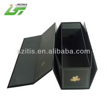 Factory Wholesale Hard Paper Folding Wine Gift Box With Handle And Black Printing