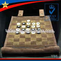 foldable chess set with chess pieces made of real suede leahter