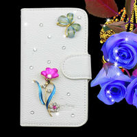 bling leather cell phone case for samsung i8552 with rhinestone endshield